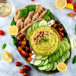 Lemon Pesto Hummus with veggies