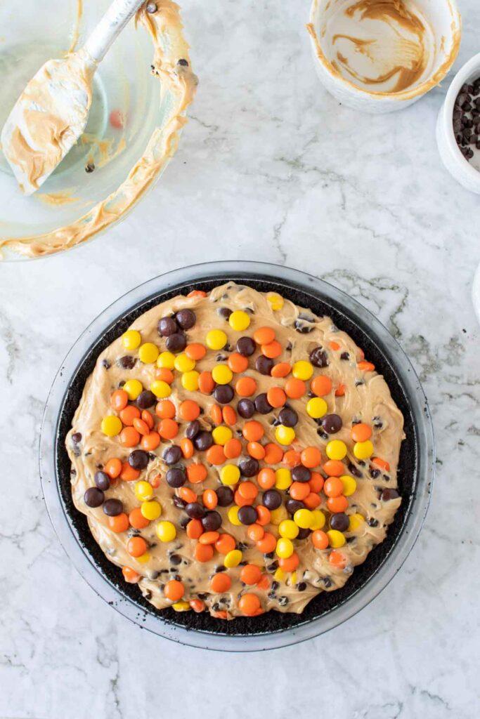 Let the peanut butter pie set in the fridge.