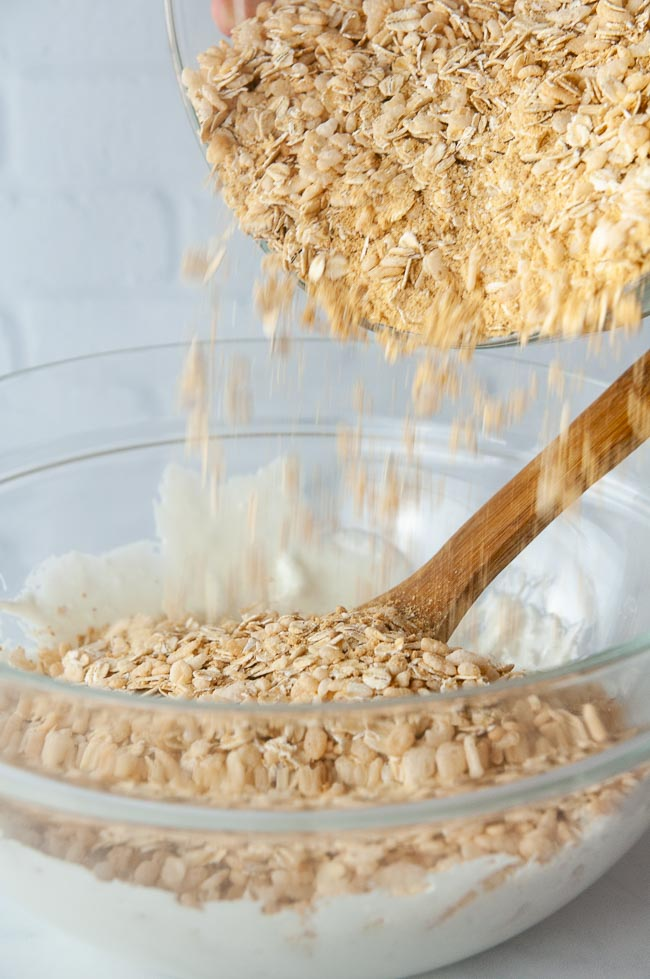 Pour the oat mixture into the melted marshmallow.