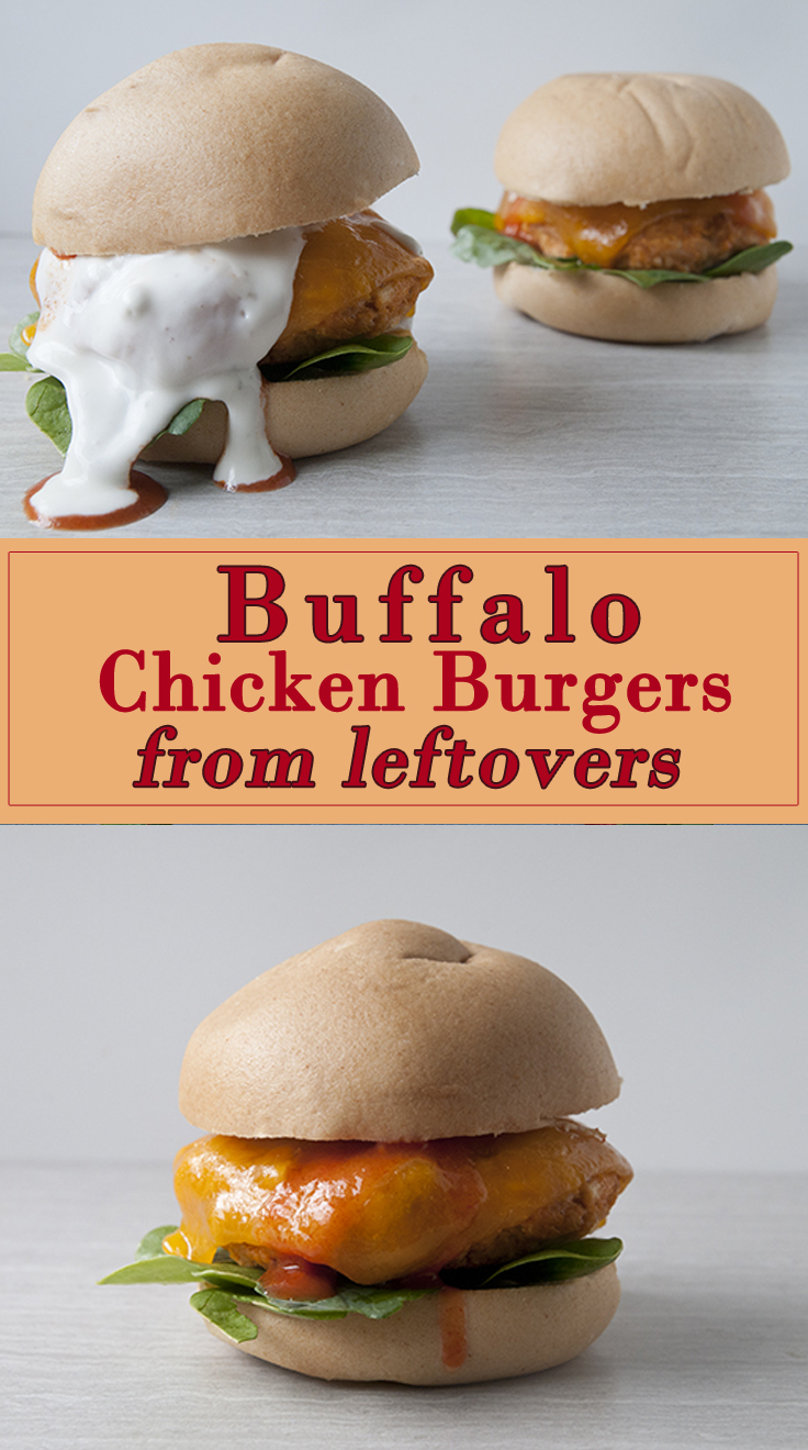 Buffalo Chicken Burgers from Leftovers