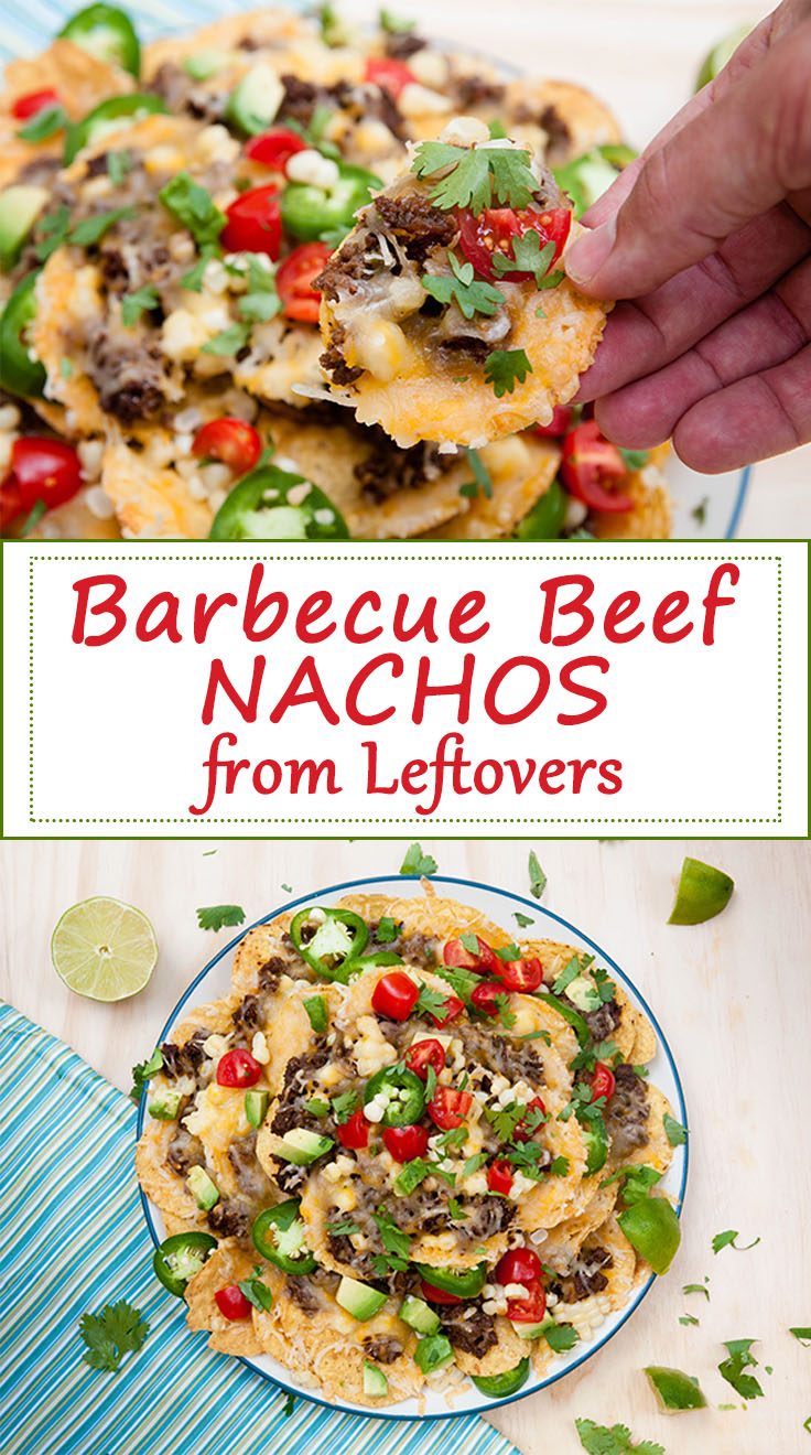 Barbecue Beef Nachos from Leftovers