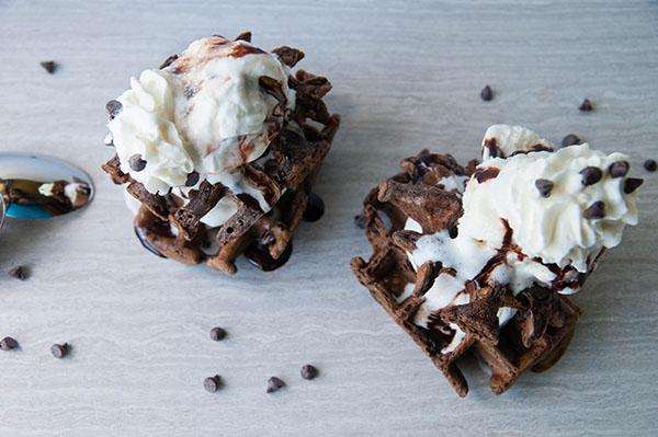 Gluten Free Chocolate Waffle Sundaes