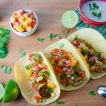 Blackened Shrimp Tacos with Peach Salsa and Coconut Crema
