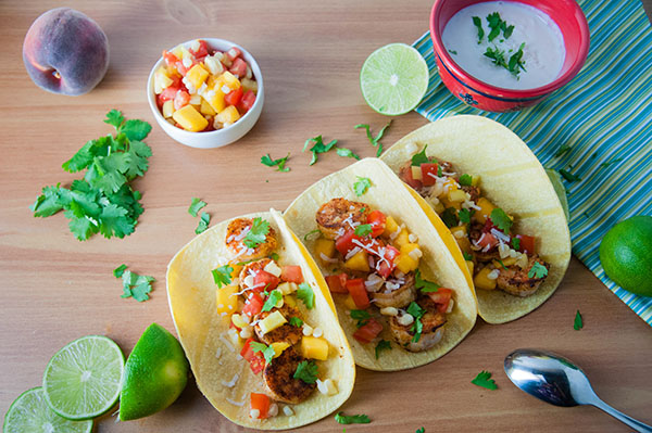 Blackened Shrimp Tacos with Peach Salsa and Coconut Crema