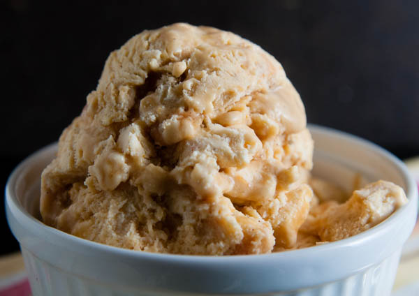 No Churn Pumpkin Ice Cream with Caramel Walnut Swirl