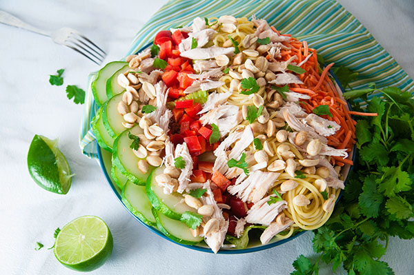 Thai Chicken Salad with Creamy Peanut Dressing
