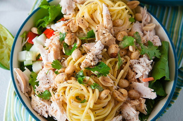 Thai Chicken Salad with Creamy Peanut Dressing