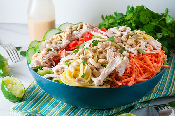 Thai Chicken Salad with Creamy Peanut DressingThai Chicken Salad with Creamy Peanut Dressing