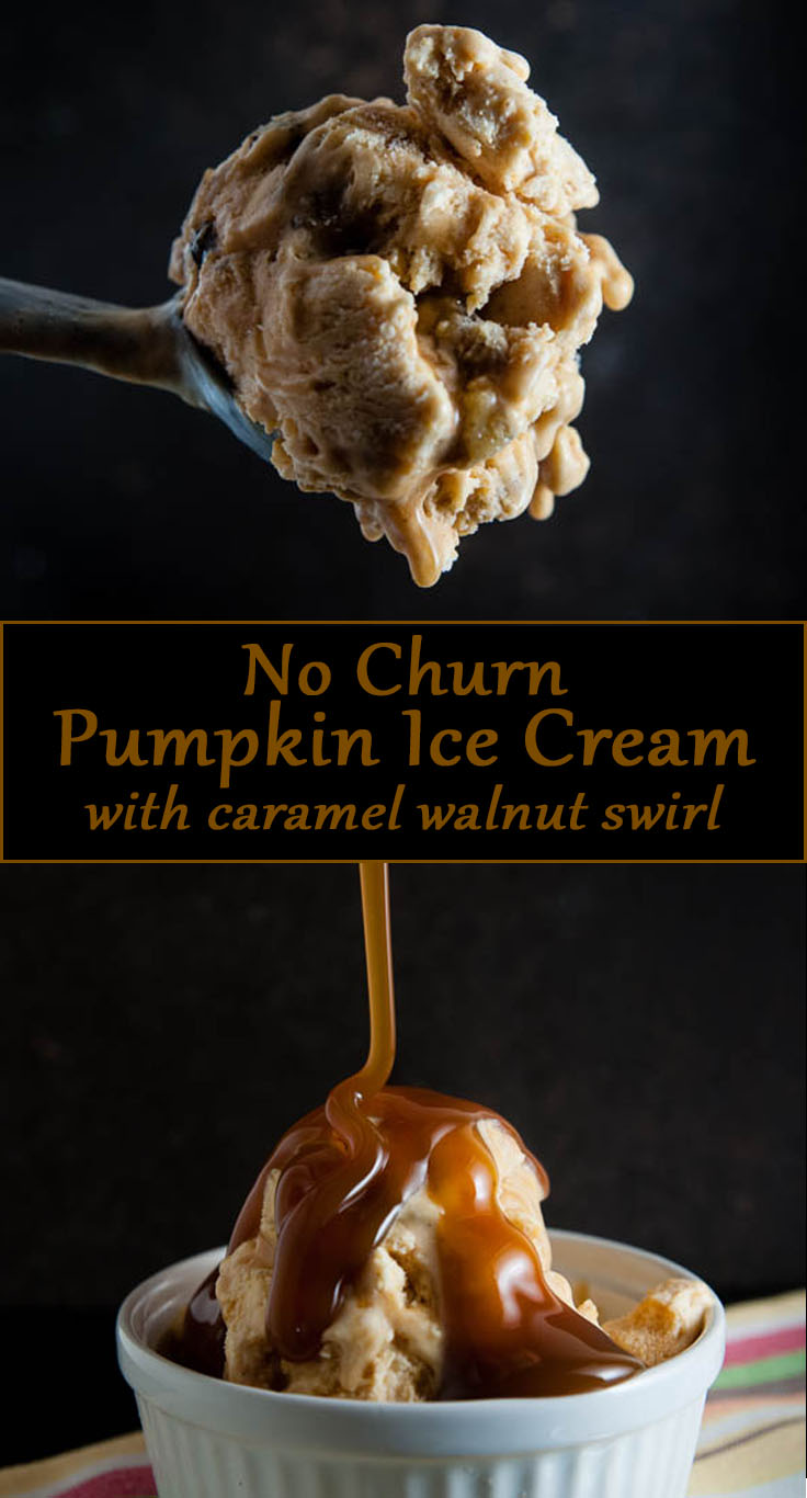 No Churn Pumpkin Ice Cream with Caramel Walnut Swirl