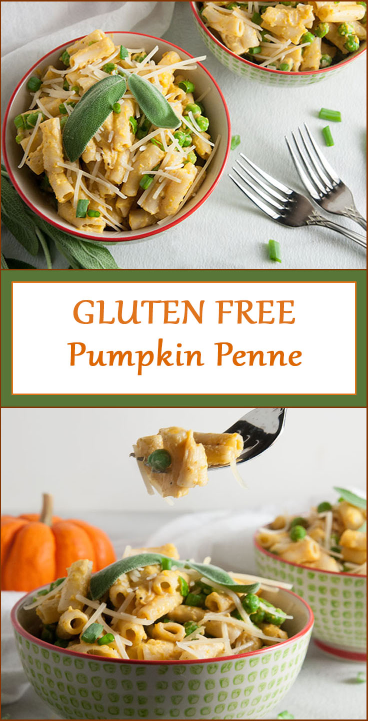 One Pot Gluten Free Pumpkin Penne with Peas and Parmesan