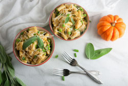 Pumpkin Penne with Peas, Parmesan, and Sage