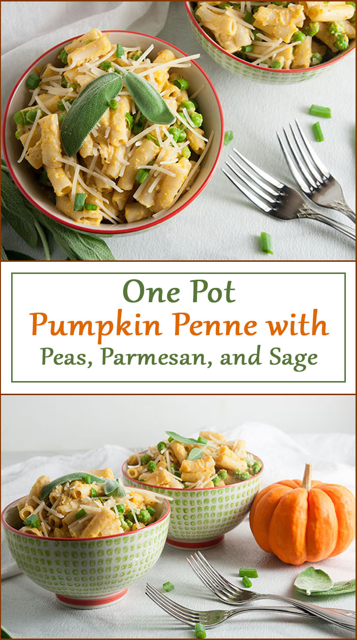 One Pot Pumpkin Penne with Peas and Parmesan