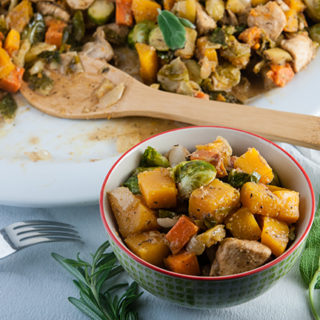 Autumn Chicken Skillet with Brussel Sprouts, Sweet Potatoes, Butternut Squash, and Apples in Apple Cider Pan Sauce