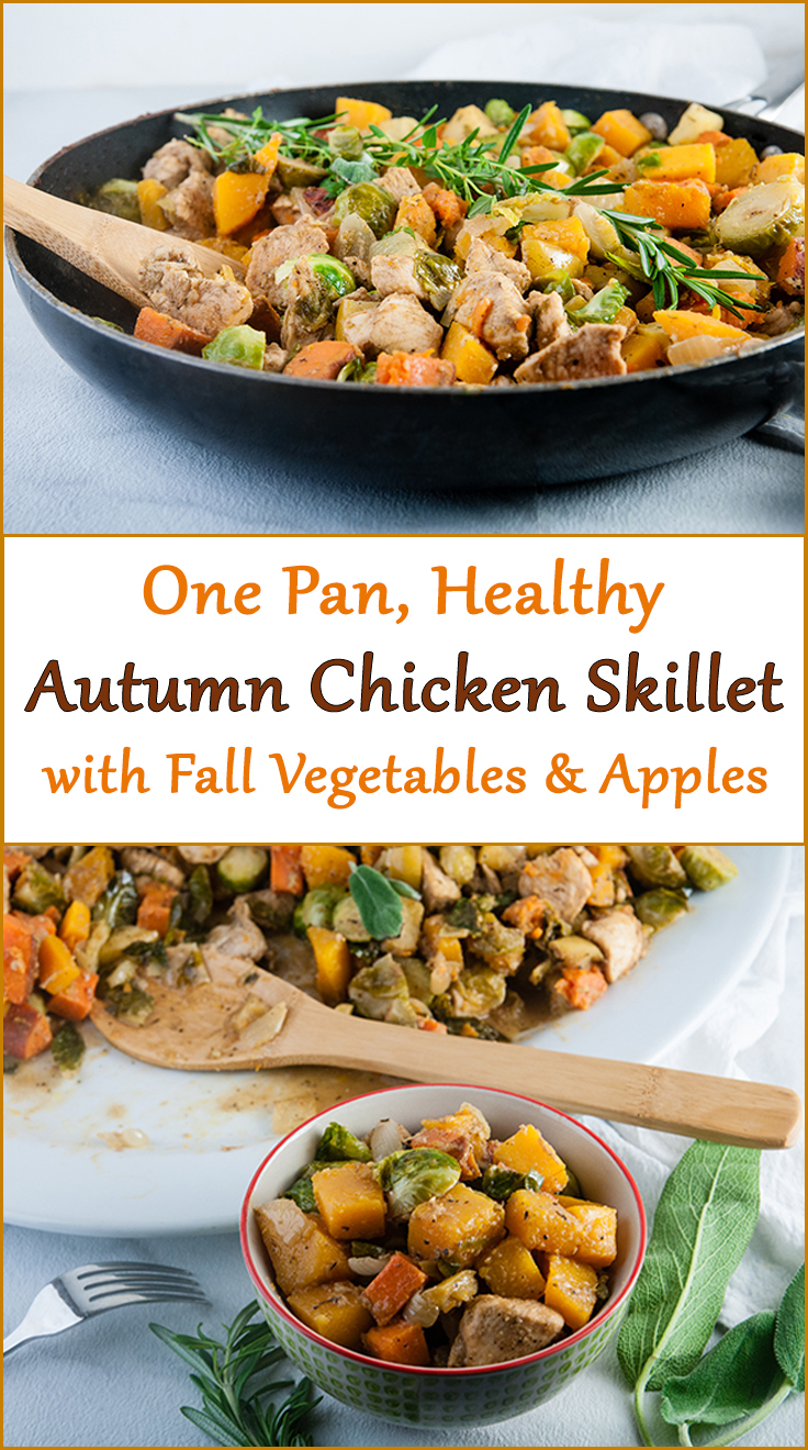 Healthy Autumn Chicken Skillet with Brussel Sprouts, Sweet Potatoes, Butternut Squash, and Apples in Apple Cider Pan Sauce from www.SeasonedSprinkles.com