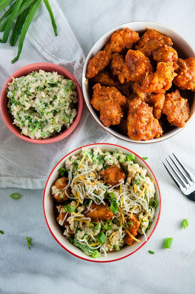 Buffalo Chicken Cheesy Rice Bowls