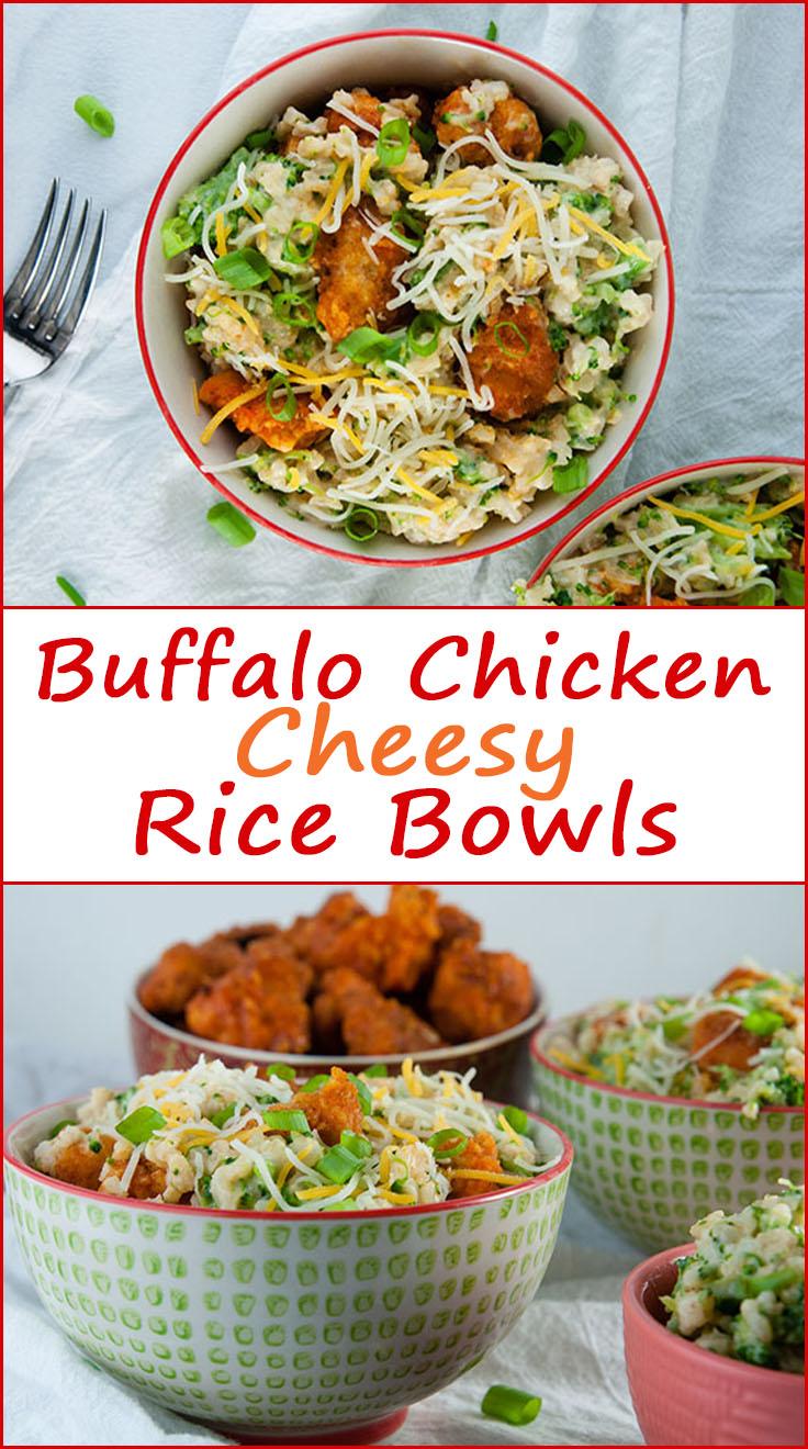 Gluten Free Buffalo Chicken Cheesy Rice Bowls