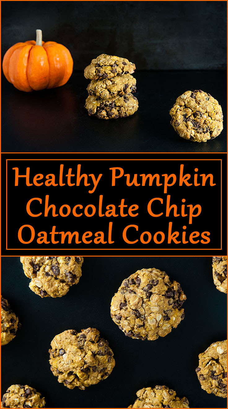 Healthy Pumpkin Chocolate Chip Oatmeal Cookies