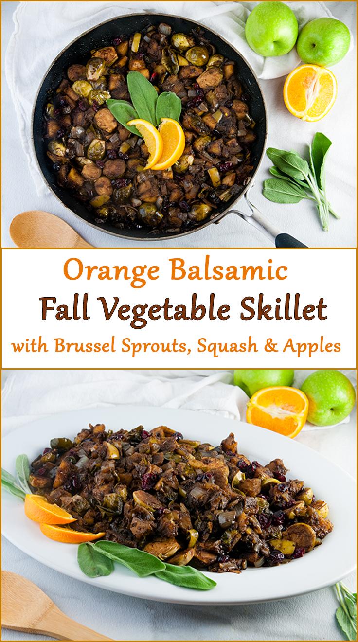 Orange Balsamic Fall Vegetable Skillet for Thanksgiving or Christmas from www.SeasonedSprinkles.com
