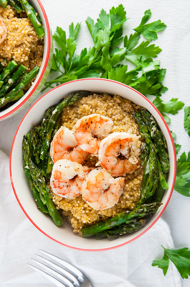 Pumpkin Parmesan Quinoa with Shrimp and Asparagus