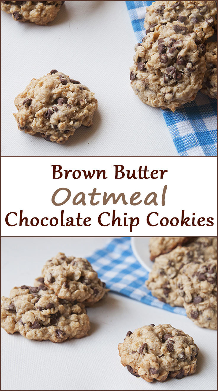 Brown butter oatmeal chocolate chip cookies from www.SeasonedSprinkles.com
