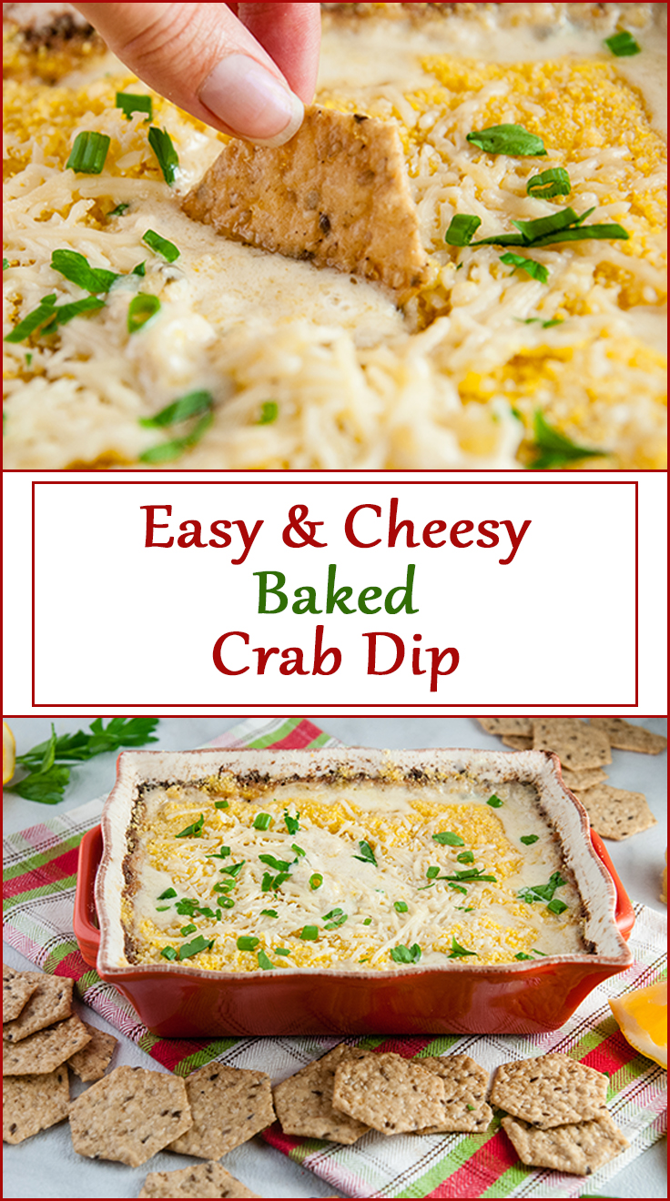 Easy Cheesy Baked Crab Dip from www.SeasonedSprinkles.com