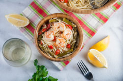 Christmas Shrimp Scampi with Red Peppers and Asparagus