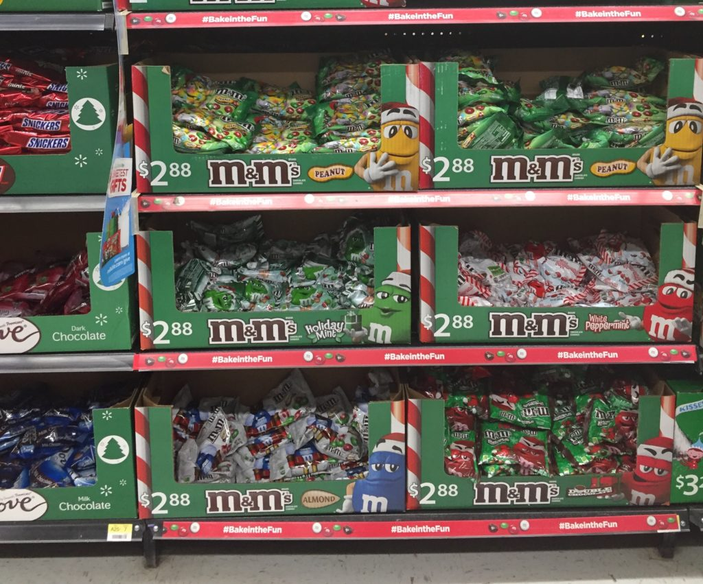 You can find Dove and M&Ms near each other in the seasonal candy aisle.