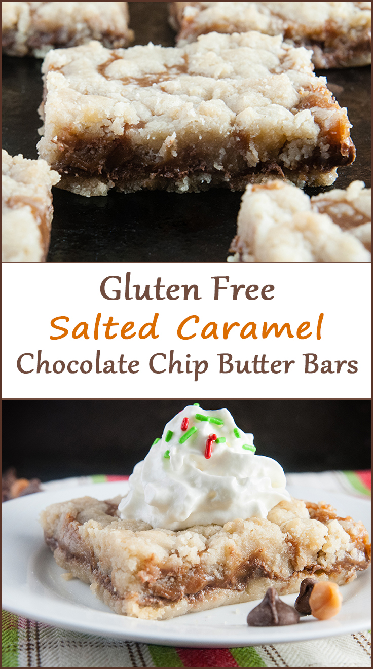 Gluten free salted caramel chocolate chip butter bars from www.SeasonedSprinkles.com