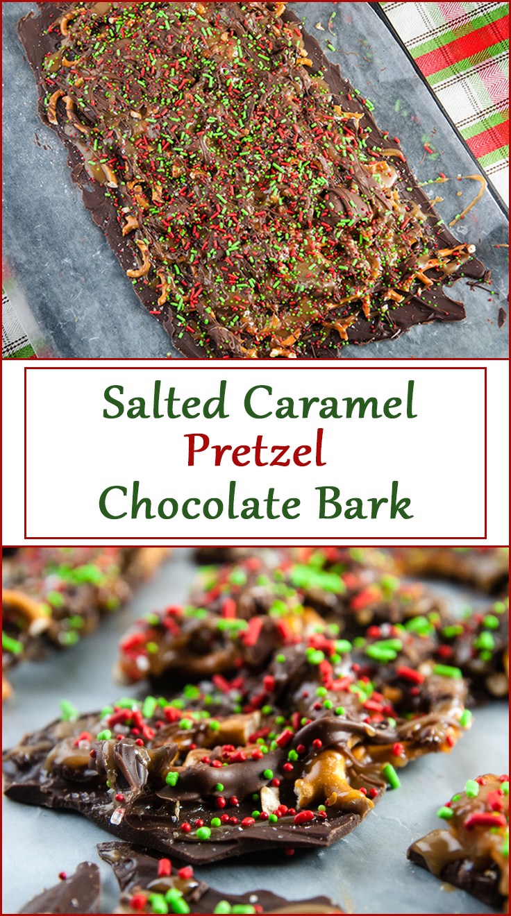 Easy Salted Caramel Pretzel Chocolate Bark from www.SeasonedSprinkles.com