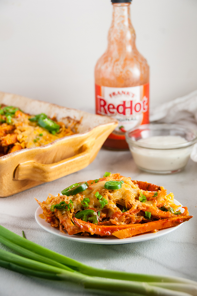 Buffalo Chicken Sweet Potato Cheese Fries