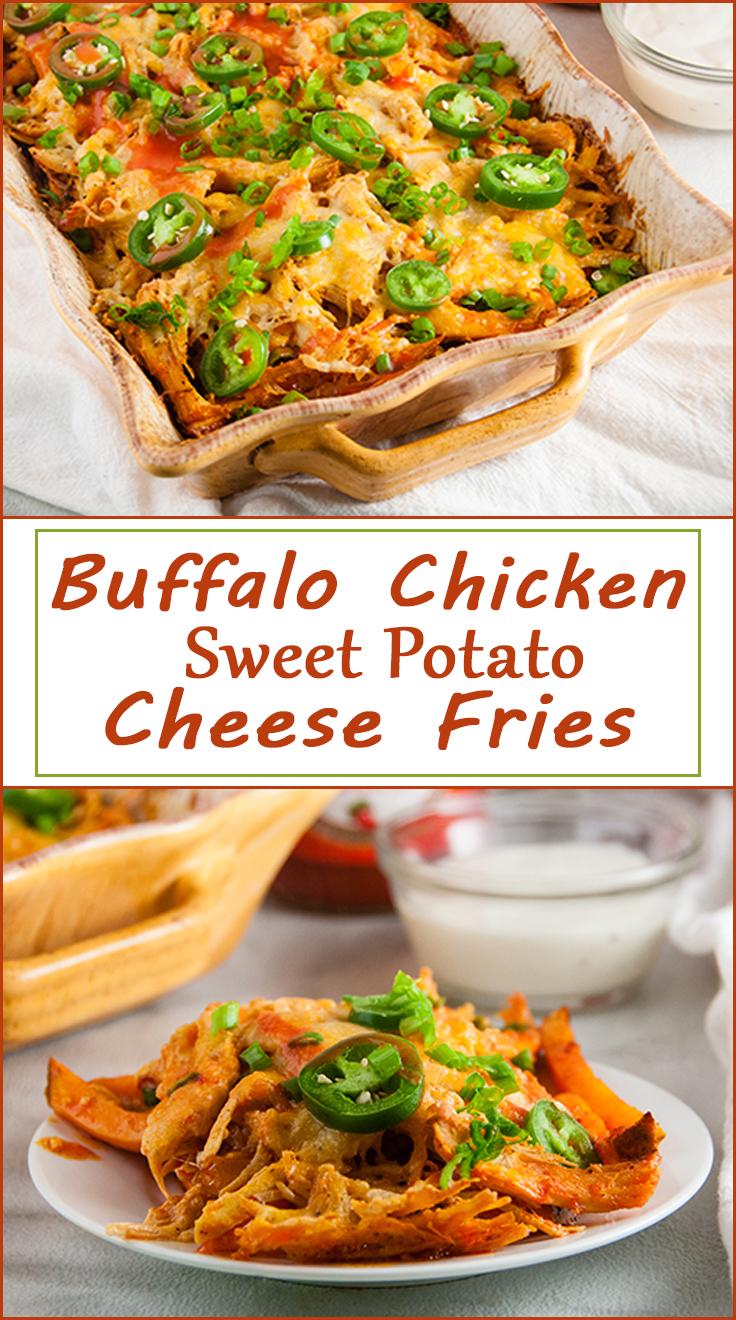 Buffalo Chicken Sweet Potato Cheese Fries from www.SeasonedSprinkles.com