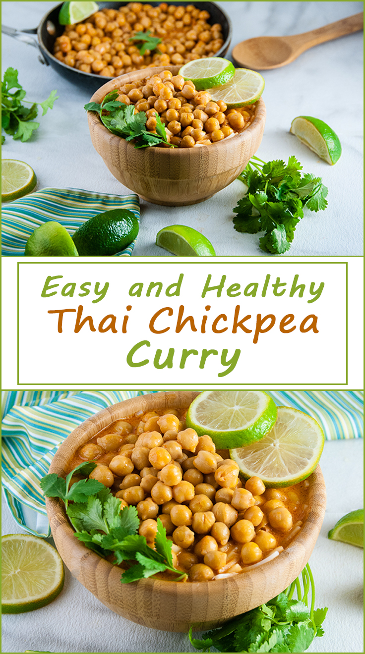 Quick and Easy Thai Chickpea Curry (vegan and gluten free) from www.SeasonedSprinkles.com