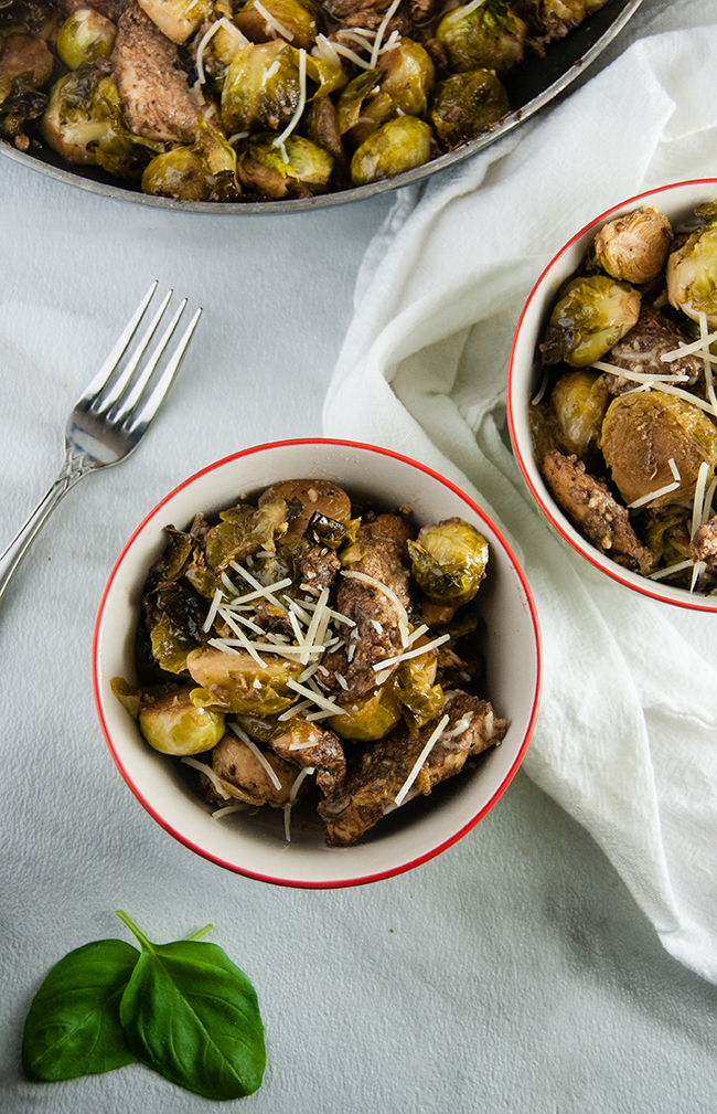 Parmesan Balsamic Chicken and Brussel Sprout Skillet