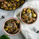 Parmesan Balsamic Chicken and Brussel Sprouts Skillet