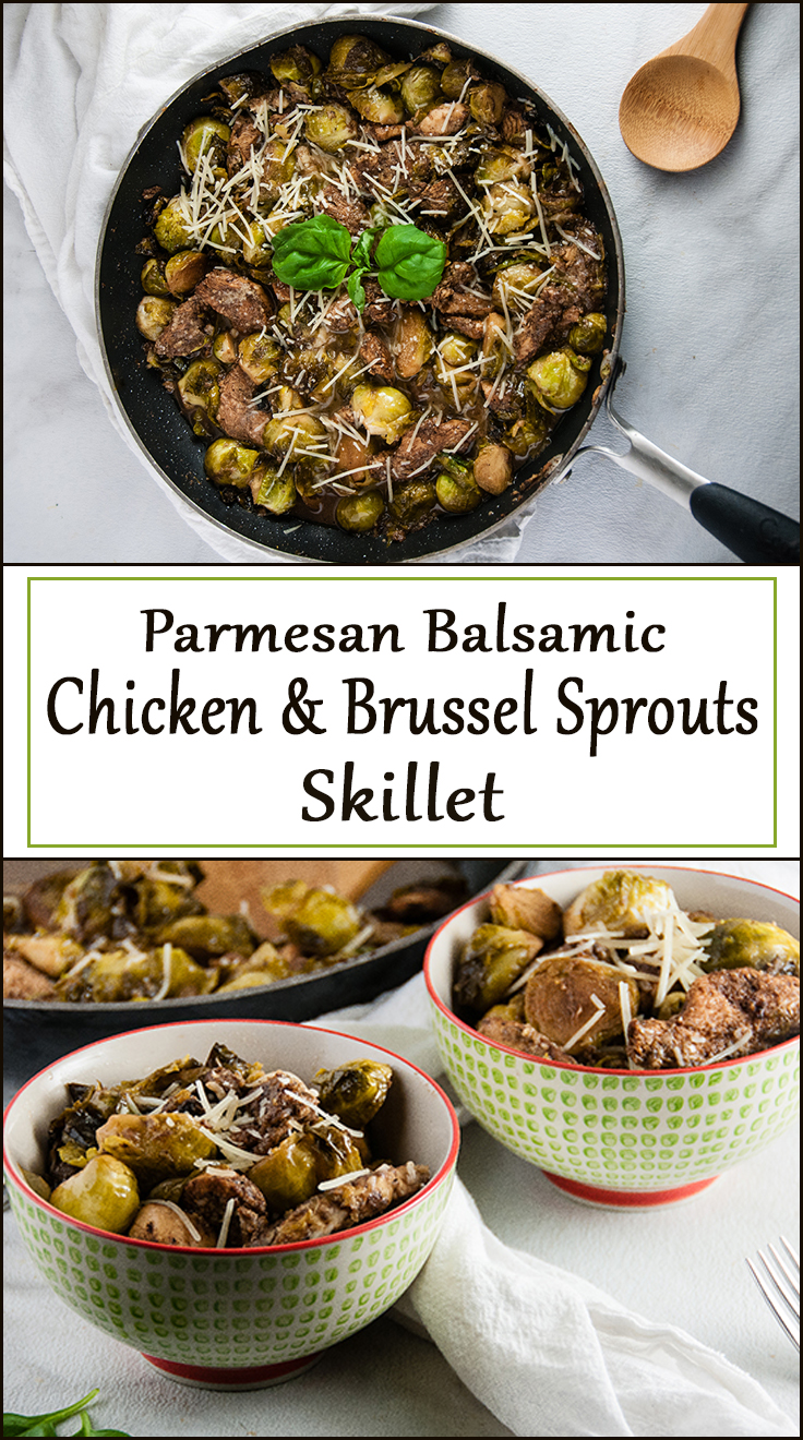 Parmesan Balsamic Chicken and Brussel Sprouts Skillet from www.SeasonedSprinkles.com