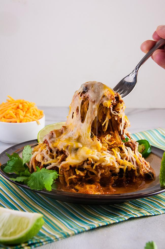 Cheesy Chicken Enchilada Stuffed Spaghetti Squash