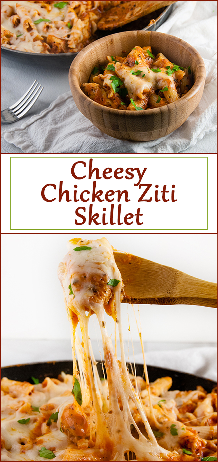 Cheesy Chicken Ziti Skillet from www.SeasonedSprinkles.com