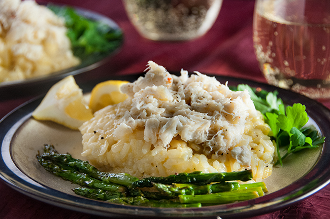 Crab Risotto With Asparagus Seasoned Sprinkles