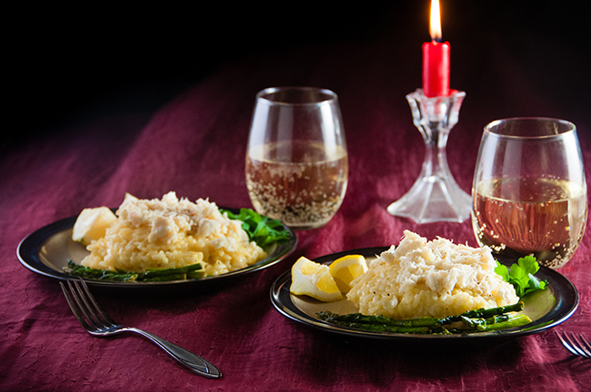 The perfect romantic meal for two: crab risotto with asparagus