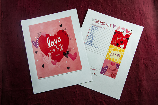 Valentine's Day cards, printables, gift bags, stickers, an tissue paper from American Greetings