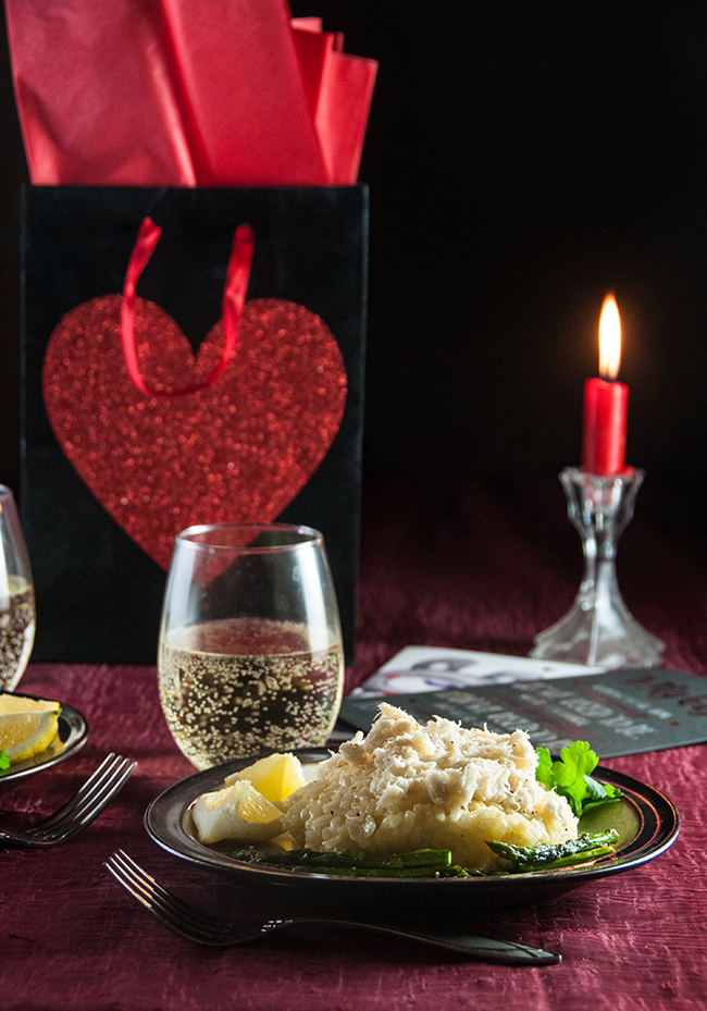 The perfect romantic meal for 2: crab risotto with asparagus