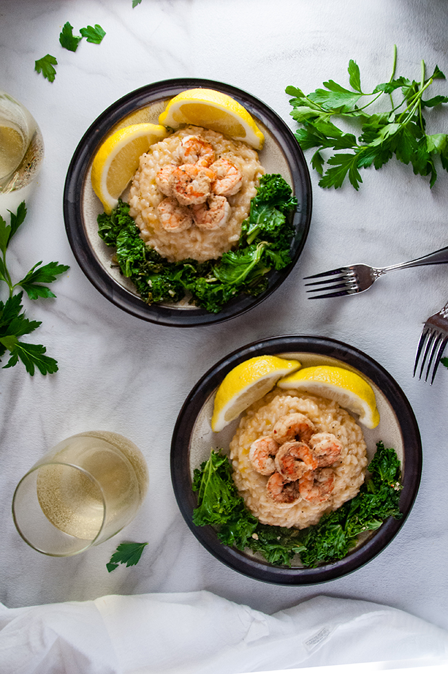 Shrimp Risotto with Garlicky Kale