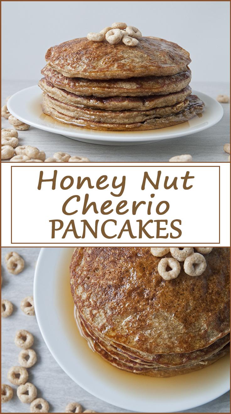 Honey Nut Cheerio Pancakes from www.SeasonedSprinkles.com