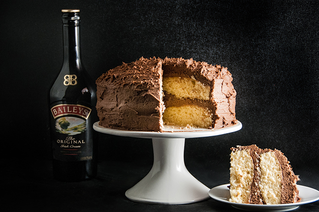Shortcut Bailey's Cake with Chocolate Bailey's Icing