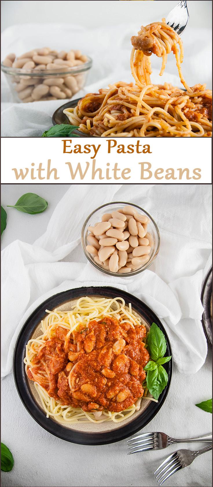 Easy Pasta with White Beans from www.SeasonedSprinkles.com
