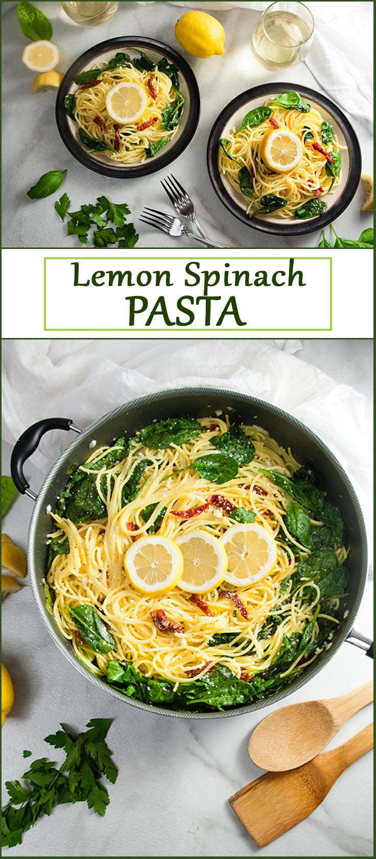 Easy Lemon Spinach Pasta with Sun Dried Tomatoes from www.SeasonedSprinkles.com