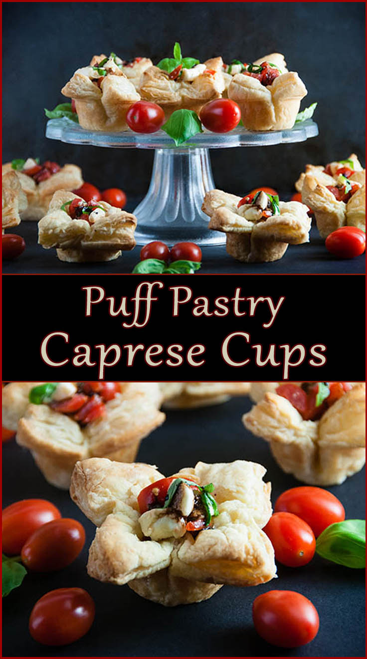 Easy Puff Pastry Caprese Cups from www.SeasonedSprinkles.com