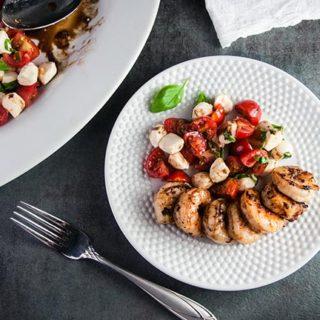 Shrimp Caprese Salad with Honey Balsamic Reduction