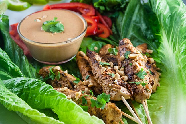 Thai Chicken Satay Skewers with Curry Peanut Dipping Sauce