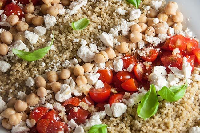 Tomato Chickpea and Quinoa Salad with Lemon Basil Vinaigrette